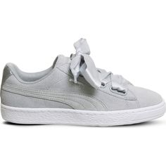 PUMA Suede Heart trainers ($105) ❤ liked on Polyvore featuring shoes, sneakers, suede leather shoes, suede lace up shoes, puma sneakers, puma trainers and heart sneakers