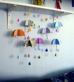 Umbrella and raindrop mobile. Image only.