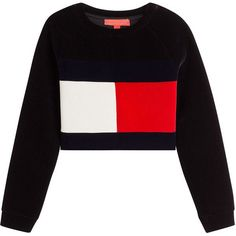 Hilfiger Collection Cropped Velvet Sweatshirt found on Polyvore featuring tops, hoodies, sweatshirts, sweaters, shirts, blue, blue crop top, boxy shirt, white top and oversized crop top