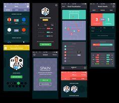 iPhone Football App First Draft / Maxime De Greve Best Ui Design, Ios App Design, Mobile App Design, Mobile Ui, Interface Design, User Interface, Web Design, Dashboard Design, Flat Design