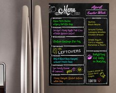 Organize Your Meals and Grocery Shopping List All on Your Fridge with Cheap and Easy Chalkboard Menu Planners and Creative DIY Ideas.