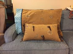Throw pillow and sham for horse trailer.