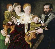 Bernardino Licino (Italian, ca.1489-1565) ~  Portrait of a Family ~ Private Collection ~ Bernardino Licinio was an Italian High Renaissance painter of Venice and Lombardy. Born in Poscante (Bergamo). He mainly painted portraits and religious canvases.
