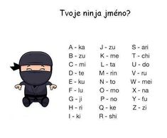 Udělej si svoje Ninja jméno Ninja Name, Affirmations, Funny Memes, Jokes, Everything And Nothing, Morse Code, I Don T Know, Belle Photo, Happy New Year