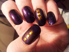 "Star Kin ""Flip Flop"" purple holo with Born Pretty Store gold square studs"