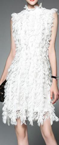 Ruffled Lace Dress, White or Black