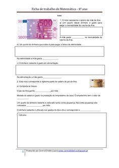 Ficha de trabalho de Matemática - 4º ano                                             Euros                                ...