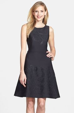 Vera Wang Embossed Scuba Fit & Flare Dress available at #Nordstrom
