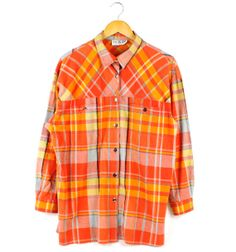 Long sleeve 90's vintage check orange shirt by FannyAdamsVC, $35.00