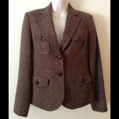 """Brown Tweed Seasonless Jacket Petite Medium Super sharp tweed jacket Sz 4. Petite Medium  Wrinkle free Acrylic/Cotton Blend.  Goes great with browns, tans, oranges and beige.     Across shoulders 15-1/2"""" Length:  23"""" Sleeve Length:  24"""" 4-pocket front and ventless back with faux belt panel. Condition:  owned and cared for by non-smoker in a non-smoking household. Style & Co Jackets & Coats"""