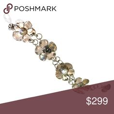 """Four Flower and """"Eileen"""" Pearl Bracelet This sterling silver and pearl bracelet was created by metal smith and jewelry designer Sherry Tinsman, whose work is 100% handmade in her Bucks Country studio. Sherry Tinsman Jewelry Bracelets"""