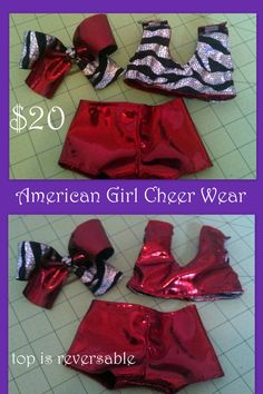 American Girl Cheer Wear Sports Bra Cheer Bow Cheerleading Practice Wear https://www.etsy.com/listing/111654575/red-zebra-american-girl-cheer-wear-or