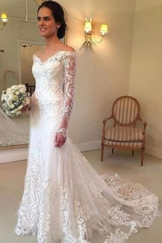 Off the Shoulder Long Sleeves Lace Wedding Dress Bridal Gown WD137