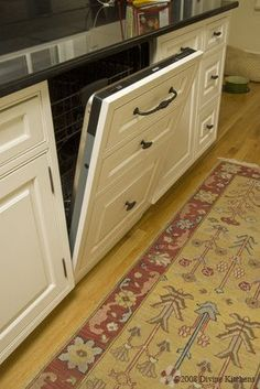 I LOVE THIS IDEA!!!! :) Hidden Dishwasher - the next trend after stainless~ GORGEOUS!