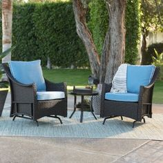 Take it easy this summer and rock your cares away with these Belham Living Lindau All Weather Wicker Glider Chairs with Side Table - Dark Brown. Outdoor Glider, Patio Glider, Patio Loveseat, Furniture Logo, Patio Furniture Sets, Steel Furniture, Asian Furniture, Furniture Plans, House Furniture