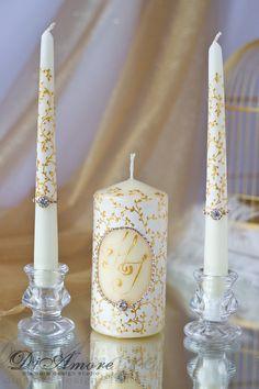 IVORY & GOLD painted handmade  Wedding Unity Candle. от DiAmoreDS