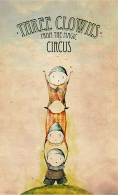 Clowns Illustration by Nina Popovska, via Behance i dont particularly love clowns but these ones are adorable