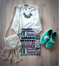 aztec skirt outfit
