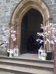 Posy Barn blossom trees outside church