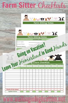 Farm Sitter Checklist Bundle--a 3 page printable set of chore checklists, contact info, and note sheet. It's hard to go on vacation when you have a small farm or homestead. This way you'll feel more organized and comfortable leaving the homestead in good hands!  via Walking in High Cotton