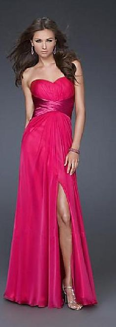 Sexy Sleeveless Long Natural Chiffon Fuchsia Evening Dress klkdresses85458fty #longpromdress #promdress