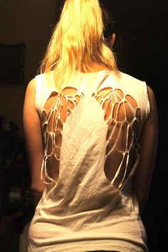 """DIY angel wings cut out shirt...this would be the coolest thing if my mind didn't constantly think """"Don't Blink"""" and then """"There's something on your back""""...yikes"""