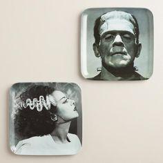 Frankenstein's Monster and Bride Plates at Cost Plus World Market >> #WorldMarket Halloween #HalloweenDecor #HalloweenEntertaining