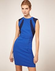ASOS Open Back Dress With Contrast Panel - Simple, Classic, Style with high heels or wedges