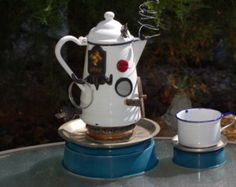 "Birdhouse Garden Art- ""COWBOY COFFEE""  (teapot coffeepot vintage up-cycling recycled metal garden folk art home decor Decorative)"