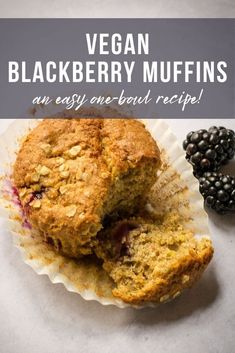 These vegan blackberry muffins are so soft and so moist - a delicious way to use up freshly picked blackberries, or use frozen berries instead! #Vegan #TheVegSpace Dairy Free Margarine, Dairy Free Baking, Dairy Free Milk, Vegan Baking, Vegan Afternoon Tea, Afternoon Tea Parties, Blackberry Muffin, Vegan Banana Muffins, Vegan Breakfast