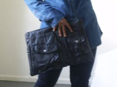 large black recycled leather clutch  by sheakoffee