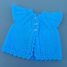 Blue baby girl buttoned sweater matinee jacket by JaminaRose