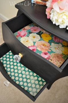 My Black Beauty – Side Table Makeover Line drawers with fun craft paper and add crystal knobs – totally girly Refurbished Furniture, Paint Furniture, Repurposed Furniture, Furniture Projects, Furniture Making, Furniture Makeover, Diy Projects, Furniture Online, Furniture Stores