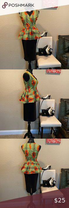 NWT SHENBOLEN COLORFUL SLEEVELESS TOP WITH PEPLUM This darling SHENBOLEN brand sleeveless v-neck top was an item I picked up while overseas last year. I've gained weight and it no longer fits. Made of a medium density cotton, it features sparrows flying through vibrant hues of orange, yellow, green and black, rear zip closure and a jaunty peplum. Size XL (See measurements for sizing also). In excellent condition!!! Shenbolen Tops Blouses Orange Yellow, Orange Color, Sparrows, V Neck Tops, Peplum, Vibrant, Blouses, Closure, Colorful