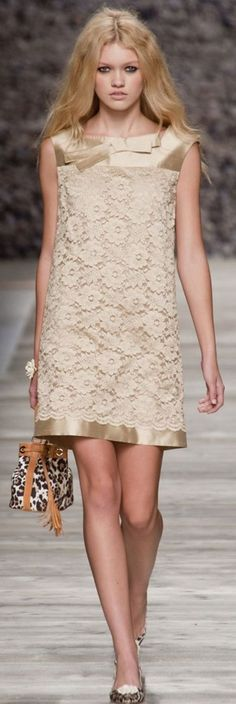 Lovely lace and satin shift dress: Blugirl Spring 2014