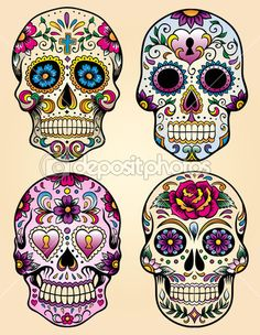 This is Calavera Skull Dia De Los Muertos Tattoo Design photo 1 Sugar Scull, Sugar Skull Art, Sugar Skull Painting, Sugar Skull Design, Candy Skulls, Mexican Skulls, Mexican Art, Caveira Mexicana Tattoo, Los Muertos Tattoo