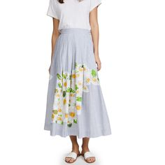 Isolda Embroidered Rio Skirt (589,080 KRW) ❤ liked on Polyvore featuring skirts, stripe midi skirt, striped skirt, summer skirts, striped pleated skirt and floral pleated skirt