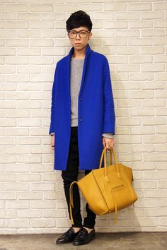 electric blue, mustard yellow, androgyny