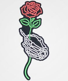 Give your notebook or car a splash of striking style, with the NoHours Skeleton Hand & Rose Sticker. This peel-and-stick style adhesive features the image of a skeleton hand holding a rose in outline style for a vibrant splash of detail, worthy of anythin Skeleton Hand Tattoo, Skull Hand, Skeleton Hands, Tattoo Hand, Hand Holding Rose, Hands Holding Flowers, Mandala Hand Tattoos, Side Hand Tattoos, Leg Tattoos