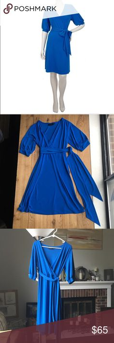 """Mara Hoffman bold blue wrap dress Need a sweet little number for an after-work soiree or weekend shindig? Step right into this wrap dress, and enjoy its stress-free styling with a V neckline, cross over front, empire waist, & detachable belt. This is the epitome of effortlessness. The dress tag says S, but  categorizing this dress as a medium to Large because lying flat, the bust is 40"""" and the waist is 32"""" poly spandex blend. Mara Hoffman Dresses"""