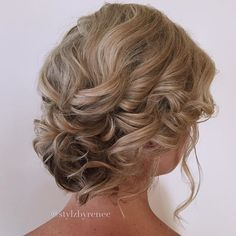 Short hair curly Updo