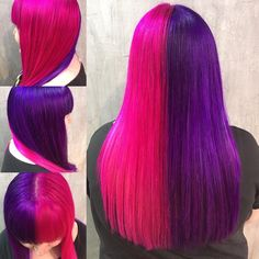 Great 'half & half' from @_fluffyunicorn__ using Plum, Violet, Cerise & Flamingo Pink 💙💜 #directionshair #directionshaircolour #larichedirections #lariche #haircolour #alternativehair #hairinspiration #haircolor #directions #instahair #haircolourideas #colouredhair #hairdye #pinkhair #bluehair