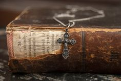 Vintage silver cross necklace 925 Sterling by RusticHomeDeco