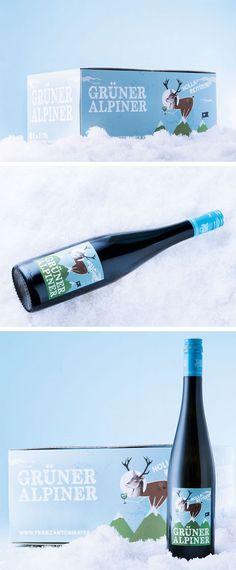 WEINGUT FRANZ ANTON MAYER // Grüner Alpiner Packaging by www.strobl-kriegner.com #packaging #design #creative #packagingdesign #wine #grüneralpiner #deer #winter #mountains #befirst
