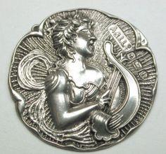 "Antique Sterling Silver Button w/ Hallmarks Art Nouveau Woman w/ Lute 7/8""  SOLD $51.70"