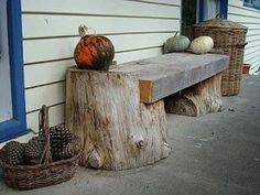 Rustic Bench - made from 2 tree trunks and a recycled plank #RusticLogFurnituretreetrunks