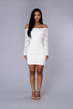 Off Shoulder Lace Bodycon Dress - White