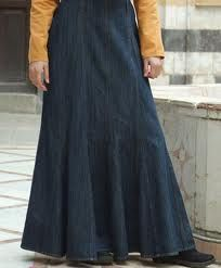 Long denim skirt light weight enough to allow for lots of movement