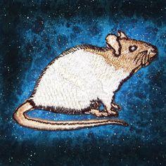 Fancy crème Hooded Rat stoom Punk opstrijkbare Patch