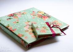 Álbum e bloco de anotações em papel decorativo Linha Flores Delicadas